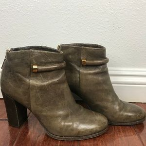 Aerin Anthropologie Olive/Taupe Leather Ankle Boot